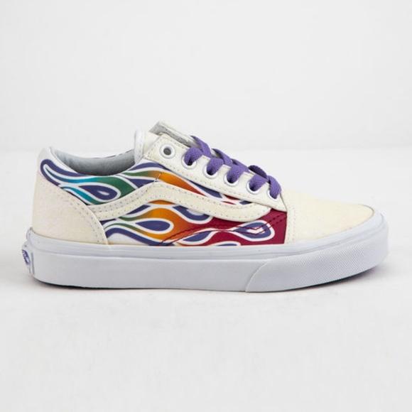 vans old skool sparkle flame rainbow skate chaussures